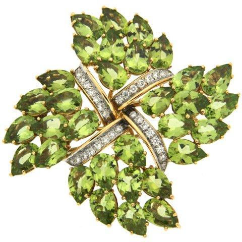 Peridot and Diamond Brooch