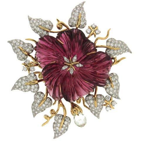 Pink tourmaline and diamond flower brooch
