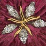 Pink tourmaline and diamond flower brooch zoom