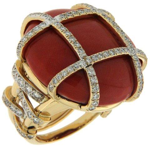 Coral & Diamond Flat Dome Ring