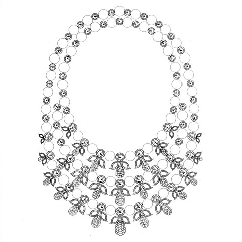 Sketch of diamond and pearl necklace