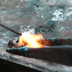 soldering pieces of the casting