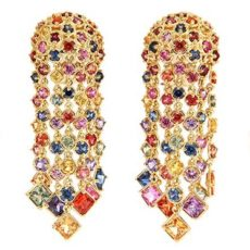 Cascading Multicolor Sapphire Earrings