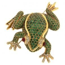 Tsavorite Frog Brooch