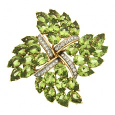 Peridot and Diamond Brooch