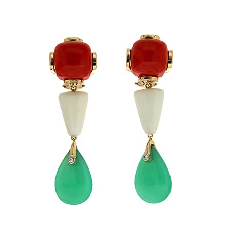 Coral and Chrysophrase Drop Earrings