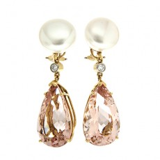 Morganite and pearl earrings