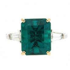 Emerald and Baguette Engagement Ring