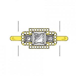 Princess cut diamond side stones on a yellow gold setting