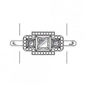 Princess cut diamond side stones on a white gold setting