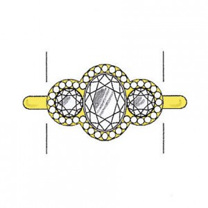 Round cut diamond side stones on a yellow gold setting