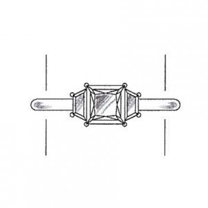 Trapezoid cut side stones on a white gold setting
