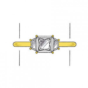 Trapezoid cut side stones on a yellow gold setting