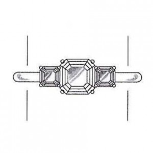 Asscher cut diamond side stones on a white gold setting