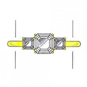 Asscher cut diamond side stones on a yellow gold setting