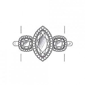 Cushion cut diamond side stones on a white gold setting