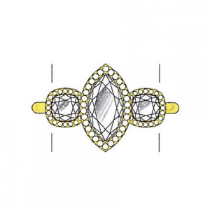 Cushion cut diamond side stones on a yellow gold setting