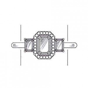 Emerald cut diamond side stones on a white gold setting