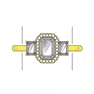 Emerald cut diamond side stones on a yellow gold setting