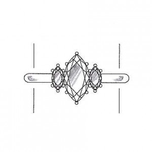 Marquise cut diamond side stones on a white gold setting