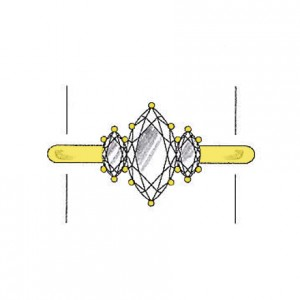 Marquise cut diamond side stones on a yellow gold setting