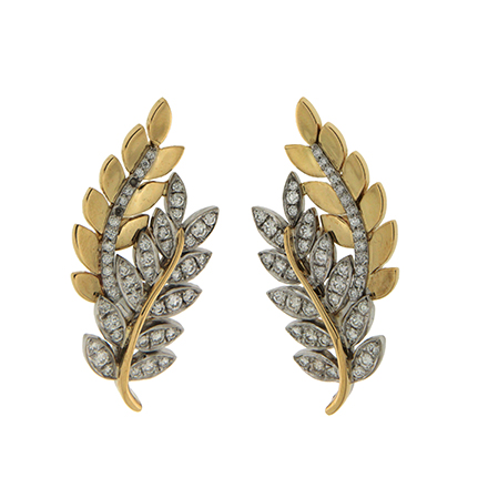Gold and Diamond Cuff Earrings