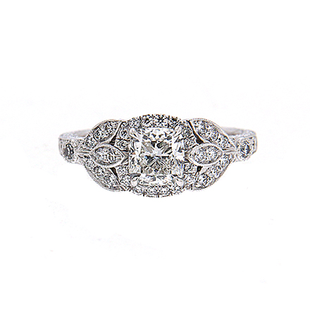 Floral Cushion Cut Engagement Ring