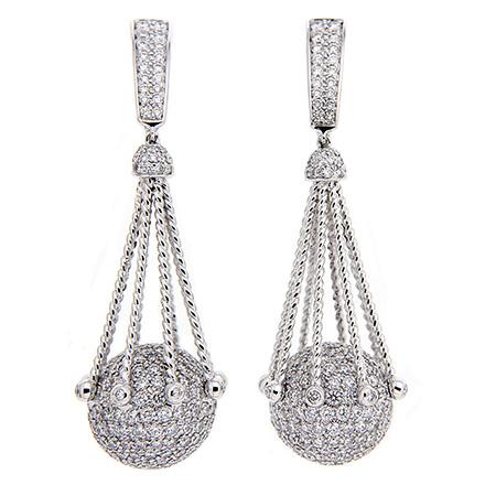 Pave diamond ball earrings