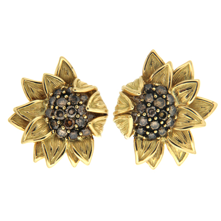 Cognac diamond sunflower earrings