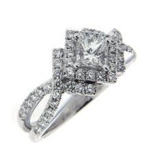 Princess cut diamond engagement ring with pave set diamonds