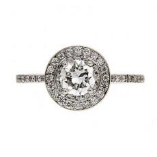 Round brilliant cut diamond engagement ring with halo diamonds