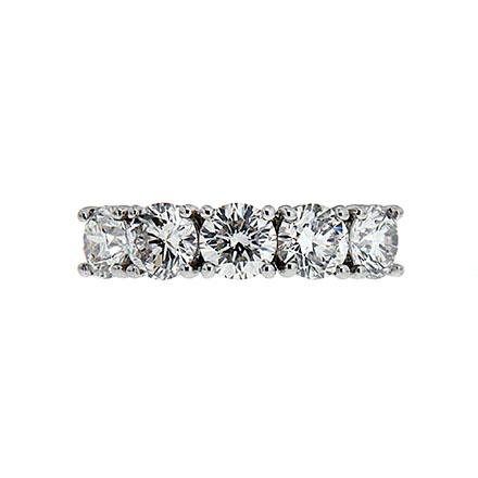 Five diamond common prong anniversary band