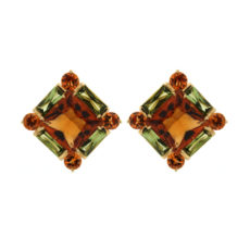 Citrine, Peridot and Sapphires Earrings