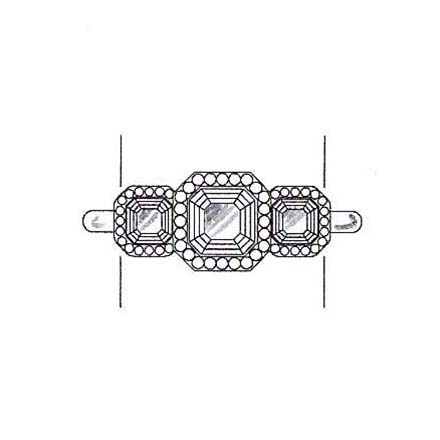 Asscher cut diamond engagement ring with asscher cut side stones