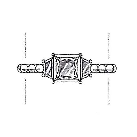 Princess cut engagement ring with trapezoid side stones