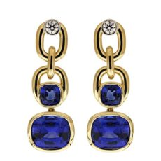 Cushion Sapphire Link Earrings