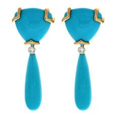 Turquoise Trilliant Drop Earrings