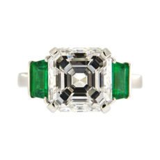 Asscher and Emeralds Engagement Ring