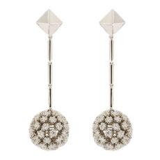 Diamond Dangling Ball Earrings
