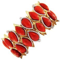 Mediterranean Coral & Diamond Bracelet