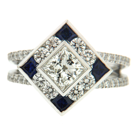 Princess Cut Diamond through a Jeweler's Loupe