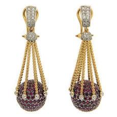 Ruby and Diamond Ball Earrings