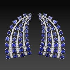 Sapphire and Diamond Fan Earrings