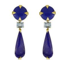Agate, Aquamarine and Lapis Earrings