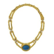 Double Line Diamond & Turquoise Necklace