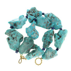 Turquoise Nugget and Lapis Cube Necklace