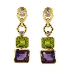 Gold Gemstone Dangling Earrings