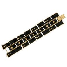 Black Jade and Gold Bracelet