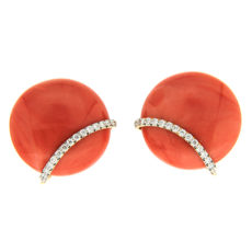 Coral and Diamond Button Earrings