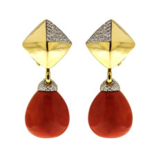 Pyramid Coral and Diamond Earrings